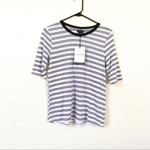 Who What Wear Striped Half Sleeve Tee White XS